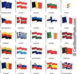 European Union country flags, member states EU. Vector ...
