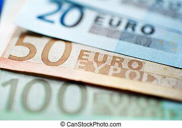 European Union Currency - Euro Banknotes closeup. narrow ...