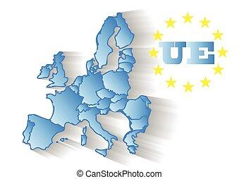 European Union - abstract map of European Union isolated on...