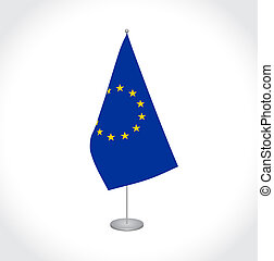 European Union EU Flag - National fabric vector flag of...