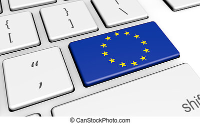 European Union EU Flag On Computer Key - European Union...