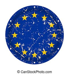 European Union, EU - round metal scratched flag