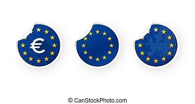 European Union, EURO, EU icons stickers set