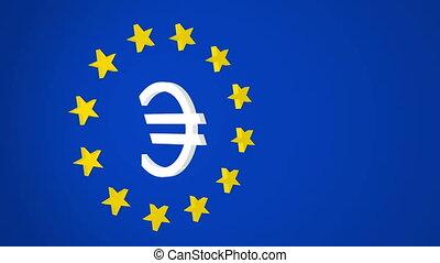 European Union Euro Symbol and Star - Three dimensional...