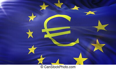 European Union Euro Symbol And Stars flag waving on sun. Seamless loop with highly detailed fabric texture.