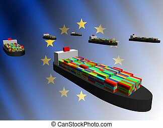 European Union export with container ships illustration