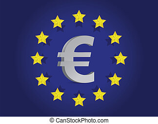 European union flag and euro symbol