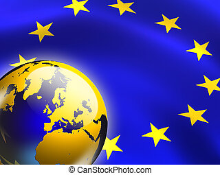European union flag and globe. Digital illustration.