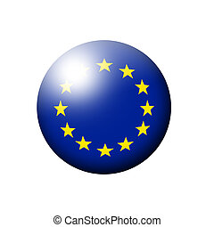 european union flag ball over white background