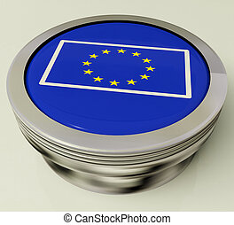 European Union Flag Button Shows Government Of Europe