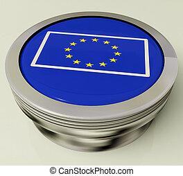 European Union Flag Button Shows Government Of Europe