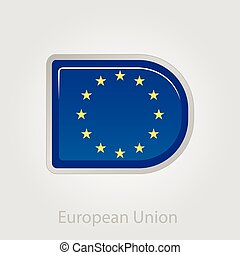 European Union flag button, vector illustration
