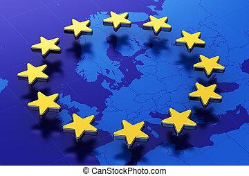 European Union flag - Creative abstract 3D illustration of ...