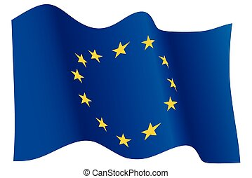 European Union flag - Flag of European Union waving, twelve...