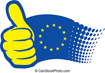 European Union flag (EU). Hand showing thumbs up