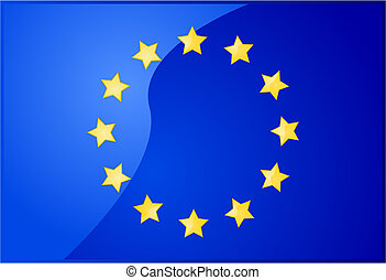 European Union flag - Glossy illustration of the flag of the...
