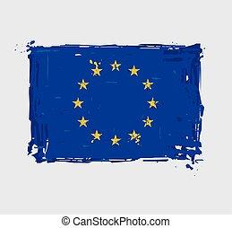 European Union Flag Flat - Artistic Brush Strokes and Splashes