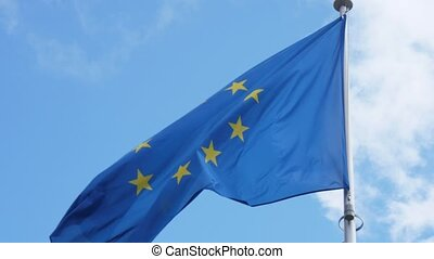 European Union flag fluttering gloriously on a flagpole in...