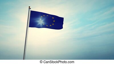 European Union Flag Flying 30fps 4k Video Of Eu Banner. An ...