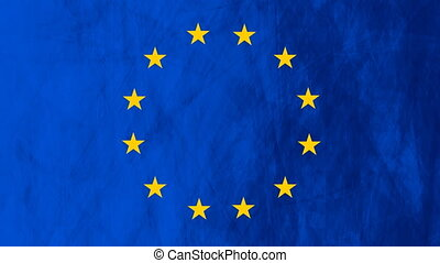 European union flag grunge video animation - European union...