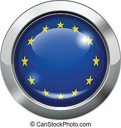 European union flag metal button - Vector illustration of...