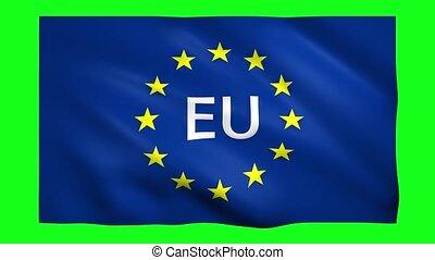 European Union flag on green screen for chroma key