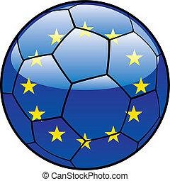 European Union flag on soccer ball - vector illustration of...