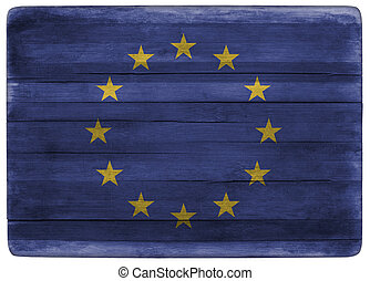 European Union flag on wooden board