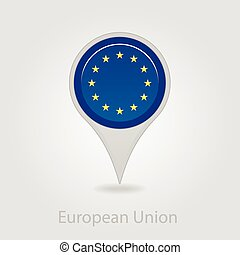 European Union flag pin map icon