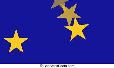 European Union Flag, spinning stars - European Union Flag -...