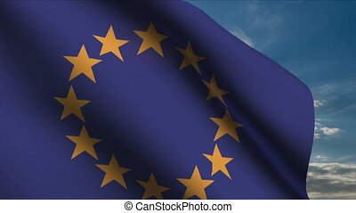European Union Flag waving in wind with clouds in background