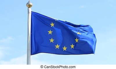 European Union flag waving on wind