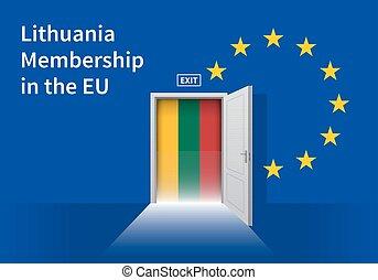European Union flag wall with Lithuania flag door. EU Flag....
