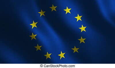 European Union flag waving 3d. Abstract background. Loop...