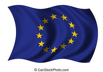 European Union Flag waving in the wind - clipping path ...