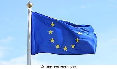 European Union flag waving on wind