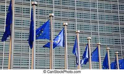 European Union Flags at the European Commission in Brussels, Belgium