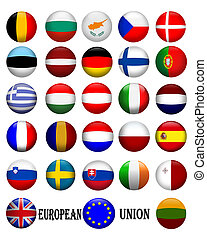 Illustrated flags in glassy orbs of the flags of countries in the European Union
