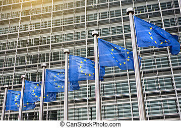 European Union flags in front of the Berlaymont building (...