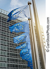 European Union flags in front of the Berlaymont building...