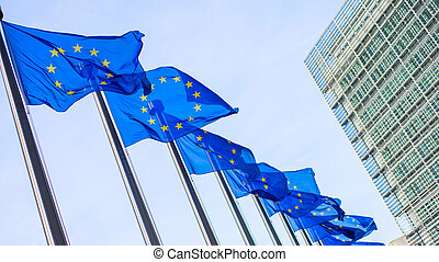European Union flags in front of the Berlaymont building in...