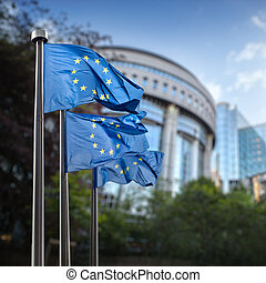 European Union flags in front of the Berlaymont - European...
