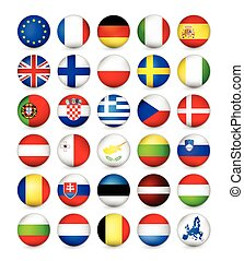European Union Flags round badges, magnets. Vector...