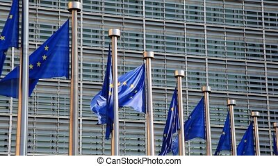 European Union Flags at the European Commission in Brussels,...
