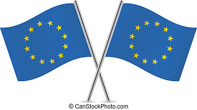 European union flags. Vector illustration.