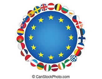 European Union flags vector illustration