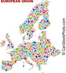 European Union Map - Mosaic of Color Triangles