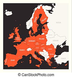 European Union map. Orange marked EU member states in the map of Europe. Vector illustration