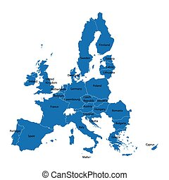 European Union map with names of all member countries