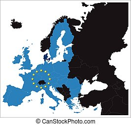 European Union map with stars of the European Union